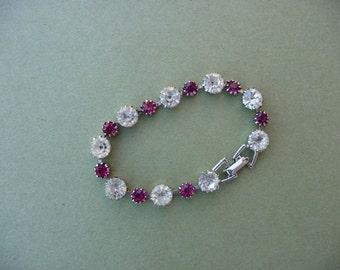 Vintage 1950's Weiss Bracelet ~ Silvertone Sparkling Hot Pink Rhinestones And Rhinestone Bracelet  ~  7  Inch ~ Very Pretty In Person