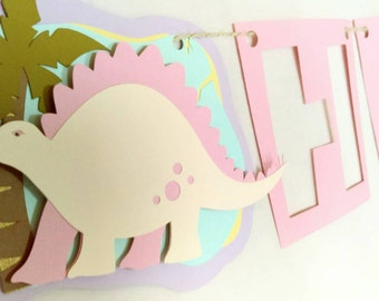 Girly dinosaur birthday banner, girl dinosaur birthday decor, pink dinosaur banner