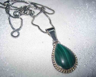 Vintage Sterling Malachite Pendant w/ Stunning Chain