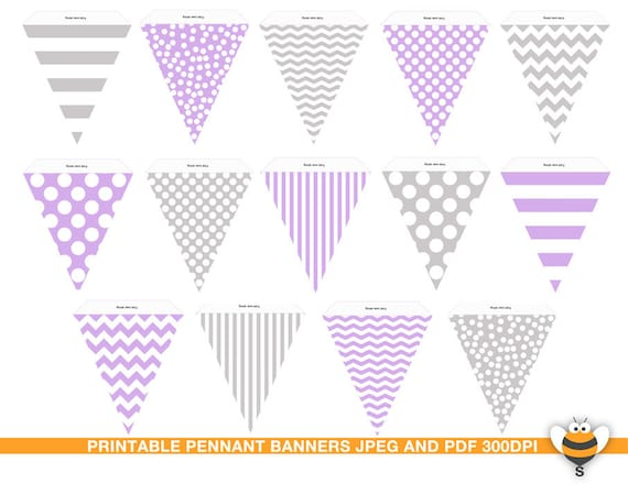 items similar to printable purple and grey bunting flags pastel color pennant banner pennant. Black Bedroom Furniture Sets. Home Design Ideas