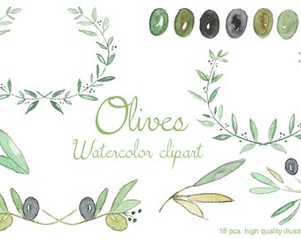 Olives and branches Watercolor clipart  Romantic Wedding, tender green branches