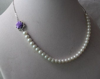 flower girl necklace, purple flower and 6 mm glass pearl necklace,children necklace,select pearl necklace,kid necklace,little girl necklace
