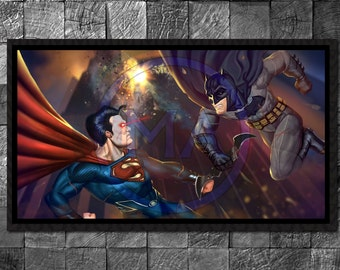 Batman vs Superman Art Print Superhero print Movie Poster Illustration