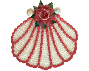 Red Scallop Shell Box Sailor's Valentine Style