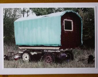 Handmade greeting card of a gypsy wagon.