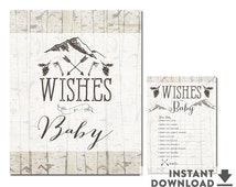 Well Wishes for Baby Card & Sign // Mountain Rustic Forest Hunting Camping Baby Shower Game Printable // No.402BABY