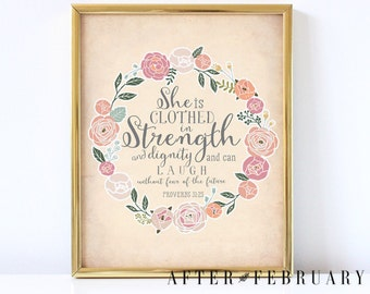 Bible Verse Nursery Art Print // She is Clothed in Strength Proverbs 31:25 Calligraphy Art Print //NSTANT DOWNLOAD No.538BAPTISM