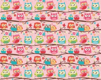 Happy Flappers pink owl stretch knit fabric by Riley Blake Designs pink green blue owl novelty stretch knit fabric owls on pink fabric