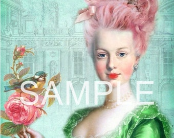 Fabric Art Quilt Block - Marie Antoinette - 12-1393  FREE Shipping