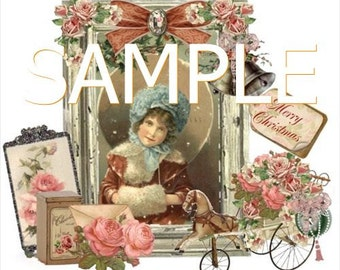 Fabric Art Quilt Block - Tea Time Collage -  14-0329 - FREE Shipping