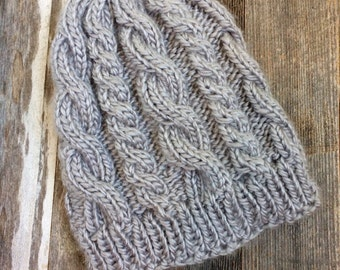 Custom Cable Knit Hat - Silver Gray - Adult - Ready to Ship