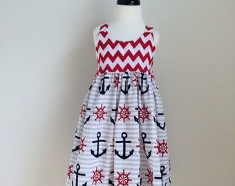 The Olivia Dress - Red Chevron and Nautical on Gray Stripes - Size 5 - Ready to Ship