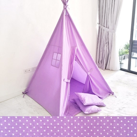 SALE: Discontinued Color. Handmade Children's Teepee Play Tent for Kids in Lilac Purple Pin Dot. Comes with Padded Mat Base and Two Pillows