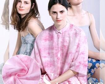 138CM Wide Pink Thin Silk Linen Cotton Comfortable Fabric for Summer Dress Shirt Clothes E021
