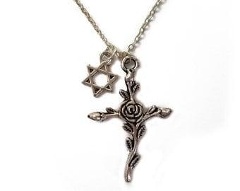 Interfaith Jewish Star & Rose Cross Necklace --- Judeo-Christian jewelry