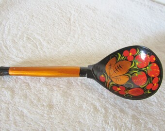 Russian Folk Art-decorative handcrafted Khokloma wooden spoon. Hand painted in vibrant colors. Floral, strawberry, leaf motif. Great gift!