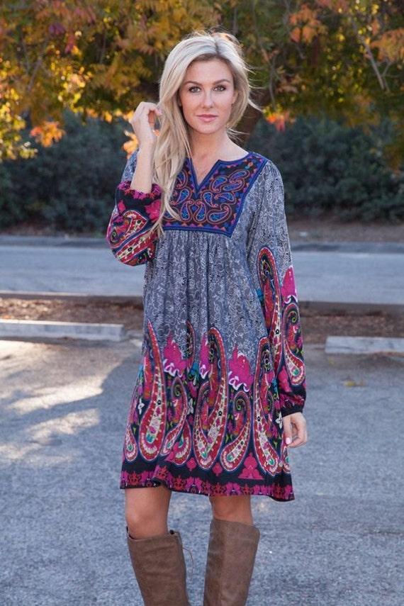 zadero tunic dress boho dress womens dress bohemian