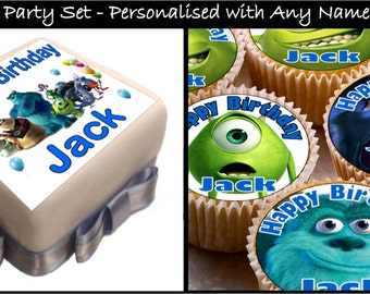 Monsters Inc Party Set Real Decor Icing Cake Toppers with Any Name (Square)