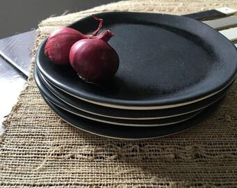 Black Porcelain Plate, Dessert Plate, Dinner Sets, Individual Plate, Handmade Plate, Black Dinnerware