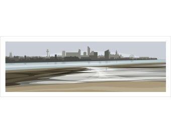 PANORAMIC Ltd Edition Giclee Print. Liverpool Skyline. Minimal contemporary archival art print - by Ian Mitchell