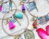 Handmade Boho Charm tassel Bracelet for the gypsy goddess in all of us, yoga jewelry, om, wild and free