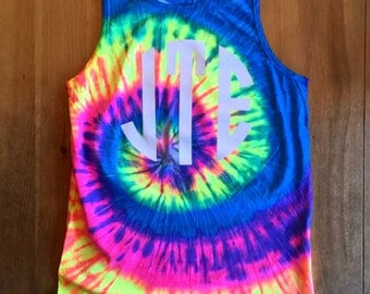 Neon Rainbow Tie Dye Monogrammed Tank Top