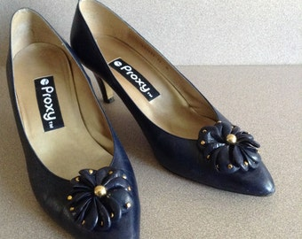 """Navy Leather Pumps Size 10 - 9.5; PROXY women's pumps with 2.5 """" heels."""