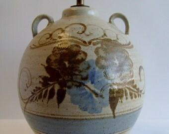 Vintage Double Handle California Studio Pottery Style Table Lamp
