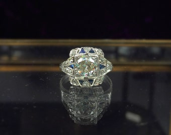 Art Deco hand carved platinum diamond engagement ring, .96ct old european cut with appraisal