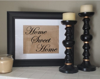 Home sweet home burlap print for new home, first home. Housewarming gift. New house. Burlap wall hanging. Unique wall sign.
