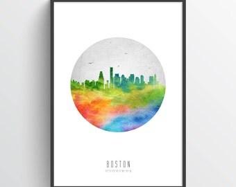 Boston Skyline Poster, Boston Cityscape, Boston Art, Boston Decor, Home Decor, Gift Idea, USMABO20P