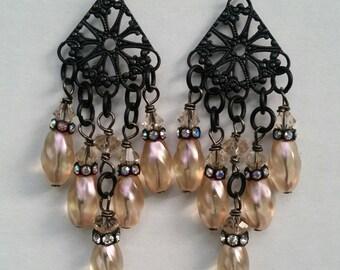 Filigree Chandelier Earrings/Drop Earrings/Czech Glass Beads/Swarovski Crystal/Black/Pink/Champagne/Prom Earrings/Wedding Earrings/OOAK