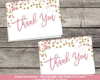 YOU PRINT Pink and Gold Glitter Thank You Cards - Baby Shower Thank You Cards - 4x6 - Instant Download Baby-244