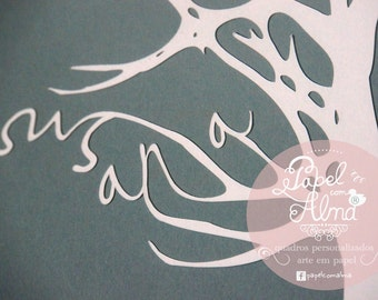 Family Tree personalized papercut - up to 6 names