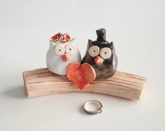 Rustic Cake Topper, Large Wedding Cake Topper, Love Tree, Owl Wedding Cake Topper, Owl Cake Topper, Ceramics and Pottery, Wedding Cake Decor