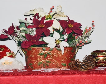 Christmas Floral Arrangement, Centerpiece, Table Decoration, Christmas Elegance, Ready to Ship!