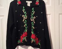 Ugly Christmas Sweater Poinsetta Holiday Party