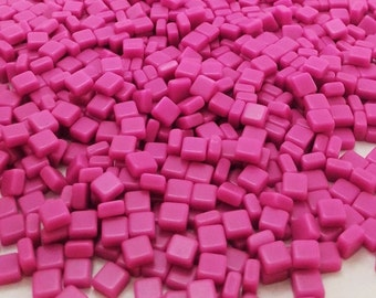 Resin mosaic tiles, 5x5 mm / thickness 3mm, Opaque effect, P-pink