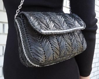 Black Clutch Bag, Summer Handbag, Rattan Bag,  Women accessories, Female Bag, Handmade Bag, Must have bag, Gift for her.