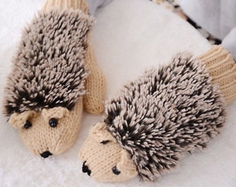 Hedgehog mittens  hand knit