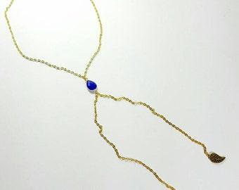 Blue Lariat Y Necklace