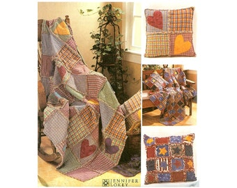 McCalls Crafts 3901 Sewing Pattern Rag Throw Blankets and Pillows UNCUT