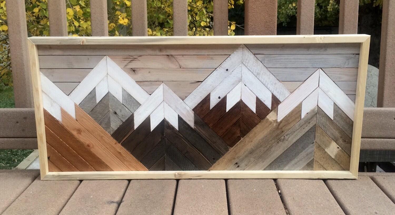 Reclaimed wood wall art mountain scene by hollybeeandcompany for Where can i buy reclaimed wood near me