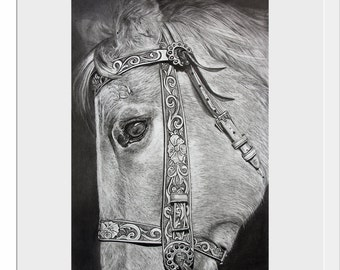 Horse Print, Art, Wall Art Prints, Black and White Print, Horse Decor, Matted Prints, Pencil Drawing