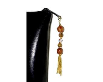 Wood Bead Zipper Charm With Chain Tassel, Crystal Bead Swag, Purse Embellishment, Clutch Adornment, Bag Bling, Crystal Zipper Pull, Glitz