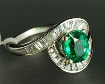 Platinum Baguette Diamond Certified Oval 1.39ct Vivid Emerald Wrap Bypass Ring