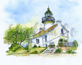 Lighthouse print from original watercolor painting/California watercolor landscape/Becon Wall Art 8x10 Print/USA Lighthouse drawing