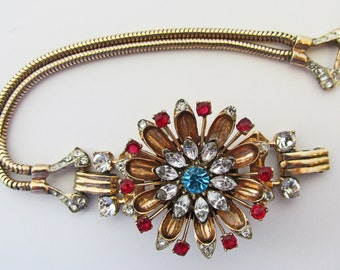 Vintage - Sterling Silver Rhinestone Bracelet - Collectible -  Jewelry - Signed - Coro Pegasus - 1940s -  Rare - Rhinestones