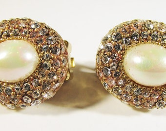 Vintage 1950s Signed Christian Dior Faux Pearl and Rhinestone Earrings
