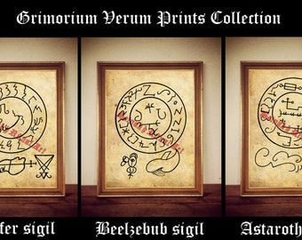 Grimorium Verum Collection, Lucifer, Astaroth, Beelzebub print, Grand Grimoire, occult illustration, summoning demons, demon evocation #124
